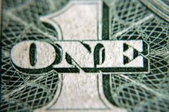 Number One. A close shot of the number five on an American one dollar bill Stock Image