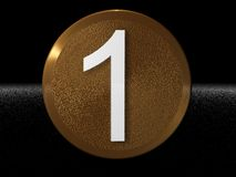 Number One. On a golden background royalty free illustration