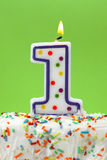 Number one birthday candle Royalty Free Stock Image