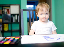 Number one boy !. Child painting number one Stock Photos