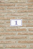 Number one in a brick wall Royalty Free Stock Image
