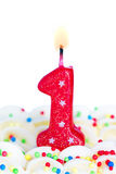 Number one candle Royalty Free Stock Photos