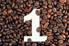 Number one on coffee bean background concept Stock Photo