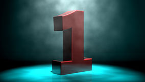 Number one. 3d. Abstract background. Blue and black colors Royalty Free Stock Images