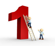 Number one. 3d person - man, person is climbing a ladder that leads at the top of the number one Stock Images