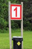 The Number One Depicted on a Sign at the Beach. Stock Photo