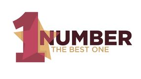 Number one emblem with stars and ribbons around big numeral isolated cartoon vector illustrations on white background. Number one emblemwith stars and ribbons Stock Photography