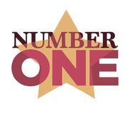 Number one emblem with stars and ribbons around big numeral isolated cartoon vector illustrations on white background. Number one emblemwith stars and ribbons Stock Photos