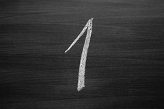 Number one enumeration written with a chalk Royalty Free Stock Images
