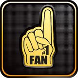 Number one fan hand on black checkered web icon Royalty Free Stock Photography