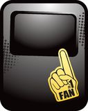 Number one fan hand on black halftone ad Royalty Free Stock Photo
