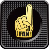 Number one fan hand on checkered web button Royalty Free Stock Photo
