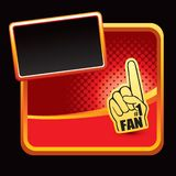 Number one fan hand on red halftone advertisement Stock Photos