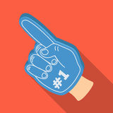 Number one is the fan`s glove.Fans single icon in flat style vector symbol stock illustration. Stock Photos