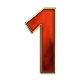 Number one in fiery red. Number 1 in fiery red & gold isolated on white series Stock Photos