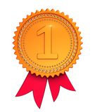 Number one1, first place 1st award ribbon medal golden red. Winner reward, champion achievement success icon. 3d illustration, isolated Vector Illustration
