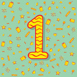 Number one or fist birthday design Royalty Free Stock Image