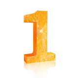Number one Fresh orange Stock Photography