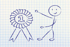 Number one, funny winner character having success Stock Photo