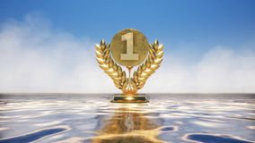 Number one gold award with sky background