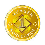 Number one gold medal. Vector art of a gold medal showing number one Royalty Free Stock Photo