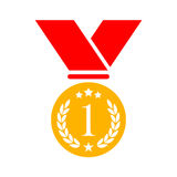 Number one gold medal vector icon. Illustration Stock Photos