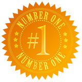 Number one. Gold seal over white royalty free illustration