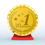 Number one gold trophy award isolated. Winner sign. Vector illustration. Royalty Free Stock Photography