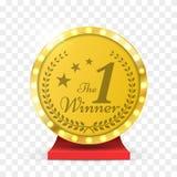 Number one gold trophy award . Winner sign. Vector illustration. Royalty Free Stock Image