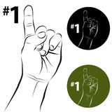 Number One Hand Gesture Line Drawing Royalty Free Stock Images