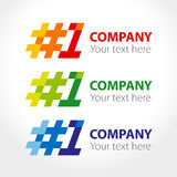 Number one, hash-tag 1, logo design elements. Vector illustration Stock Photo