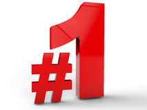 Number One. With Hashtag over white background royalty free illustration