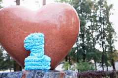 Number one on heart shaped craft concept Stock Photo