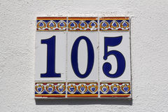 Number one hundred and five Royalty Free Stock Photography