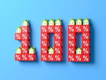 Number One Hundred With Miniature Houses And Red Percentage Blocks. 3d Illustration royalty free illustration