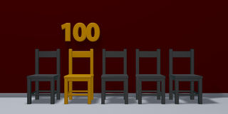 Number one hundred and row of chairs Royalty Free Stock Photo