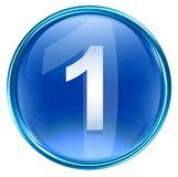 Number one icon blue. Number one icon blue, isolated on white background Stock Photos