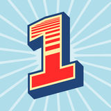 Number one illustration. Number one vector illustration retro style Royalty Free Stock Image