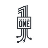 Number one logo formed by electric cables with plugs. Black and white number one logo formed by electric cables with plugs, vector illustrations isolated on Royalty Free Stock Photography