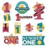 Number one best winner golden star award or laurel prize vector isolated icons set. Number one logo templates set for best winner or golden star award and laurel Stock Images