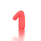 Number one made of red plasticine isolated.  Royalty Free Stock Image