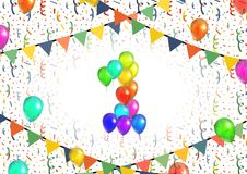 Number one made up from bright colorful balloons on background with confetti. Number one made up from bright colorful balloons on white background with confetti Royalty Free Stock Photo