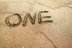 Number One. Sand writings for message Stock Images