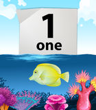 Number one and one fish swimming underwater Royalty Free Stock Image