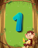 Number one with only one monkey in the tree Stock Photo