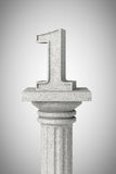 Number one over classic column Royalty Free Stock Photos