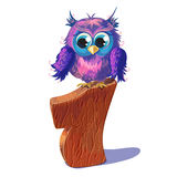 Number one and the owl in cartoon style. Eps10 royalty free illustration