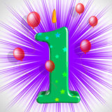 Number One Party Shows One Year Anniversary Or Birthday Stock Image