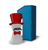 Number one and pawn with hat and beard Royalty Free Stock Image