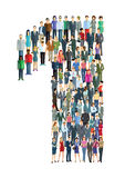 Number one people. People standing in formation in number one vector illustration